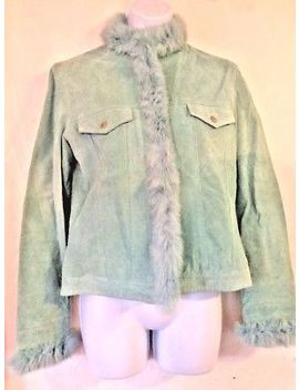 Yvonne Le Marie Aqua Teal Blue Suede Leather Moto Jacket Angora Fur Trim Sz 4 by Yvonne Le Marie