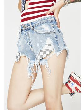 Checkered State Denim Shorts by Signature 8