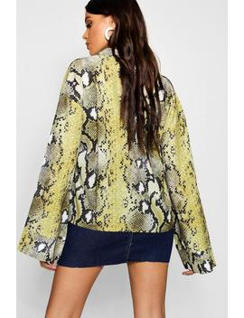 Snake Print Flare Sleeve Satin Shirt by Boohoo