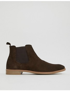 Asos Design Chelsea Boots In Brown Suede With Natural Sole by Asos Design