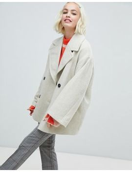Monki Double Breasted Jacket In Creme by Monki