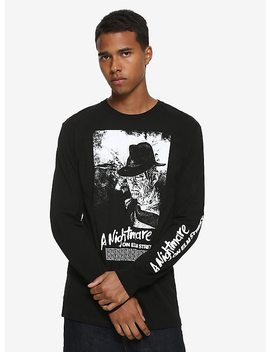 A Nightmare On Elm Street Black & White Freddy Long Sleeve T Shirt Hot Topic Exclusive by Hot Topic