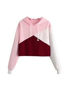 Wuyi Mc Teen Girls Cropped Hoodies, Fashion Long Sleeve Patchwork Crop Top Sweatshirt by Wuyi Mc
