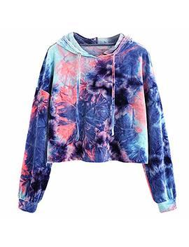 Cooki Women Teen Girls Tie Dye Cropped Hoodie Long Sleeve Pullover Crop Top Hoodie Sweatshirt Sweater Shirt by Cooki