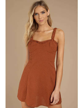 Got Your Attention Rust Dress by Tobi