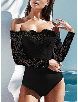 Black Off Shoulder Lace Panel Long Sleeve Bodysuit by Choies