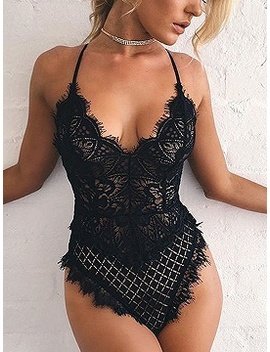 Black Spaghetti Strap Open Back Lace Bodysuit by Choies