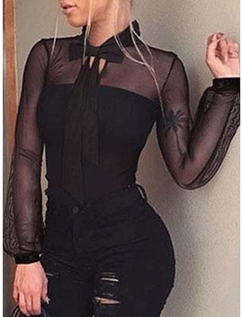 Black Bow Tie Front Sheer Mesh Panel Long Sleeve Bodysuit by Choies