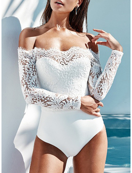 White Off Shoulder Lace Panel Long Sleeve Bodysuit by Choies
