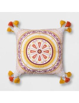 "White Print Medallion Square Throw Pillow (16""X16"")   Opalhouse™ by Opalhouse™"