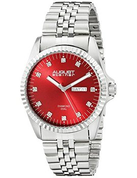 August Steiner Men's As8169 Rd Silver Quartz Watch With Red Dial And Silver Bracelet by August Steiner