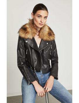 Kaylee Leather Biker Jacket by Bcbgmaxazria