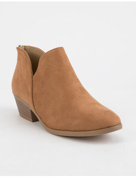 Soda Chop Out Low Tan Womens Booties by Soda