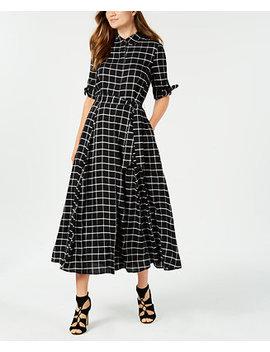 Plaid Maxi Shirtdress by Calvin Klein