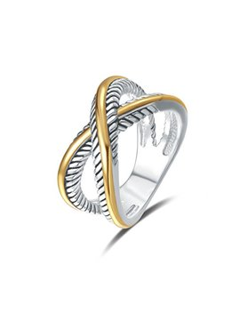 Uny Ring Vintage Designer Fashion Brand Women Valentine Gift Two Tone Plating Twisted Cable Wire Rings by Un Y