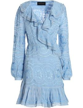 Ruffle Trimmed Embroidered Georgette Mini Wrap Dress by Needle & Thread
