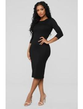 Keeping It Simple Midi Dress   Black by Fashion Nova