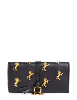 Alphabet Horse Embroidered Leather Continental Wallet by ChloÉ