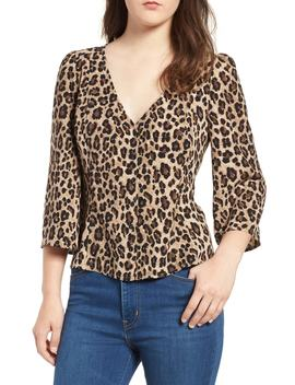 Button Front Print Blouse by Bp.