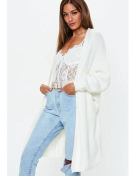 Cream Oversized Batwing Longline Knitted Cardigan by Missguided