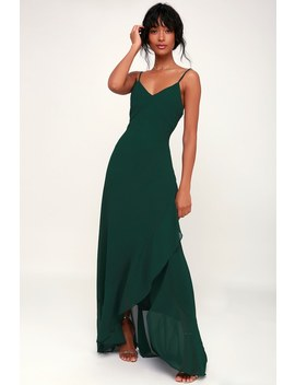 Ada Forest Green Lace Up Maxi Dress by Lulus