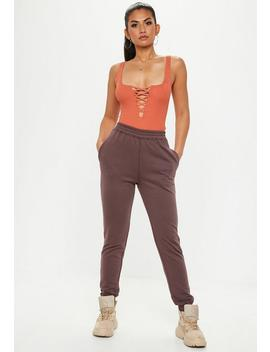 Brown Slim Joggers by Missguided