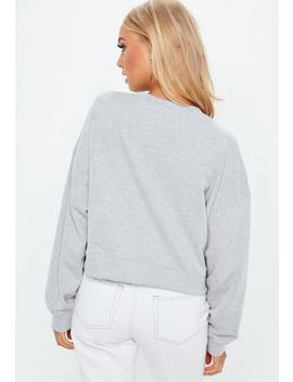 Grey Oversized V Front Washed Sweatshirt by Missguided