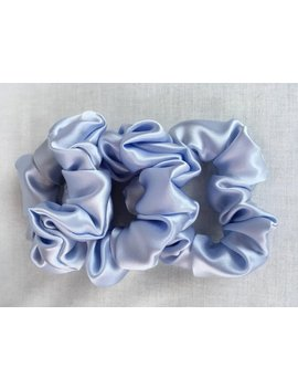 Pure Silk Hair Scrunchies, Set Of 3, Light Blue 19mm Silk Charmeuse, Small, Regular, And Large Sizes by Adorabella Baby