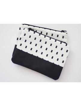 Printed Canvas And Cowhide Leather Zippered Pouch Clutch by Handmadeso
