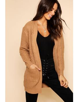 Chunky Cardigan With Pockets by Boohoo