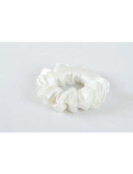 Silk Hair Scrunchie, Soft White Charmeuse, Small, Regular, And Large Sizes by Adorabella Baby