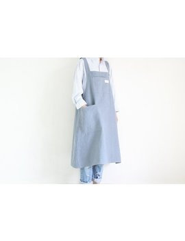 Linen Long Apron Dress,Dark Bluish Grey by Lifeinaday