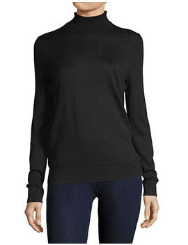 Basic Wool Turtleneck Long Sleeved Knit Top by Lord & Taylor
