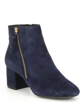 Saylor Grand Ii Suede Block Heel Booties by Cole Haan