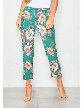 Peggy Green Floral Tapered Trousers by Missy Empire