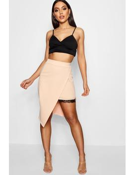 Wrap Front Lace Panel Crepe Midi Skirt by Boohoo