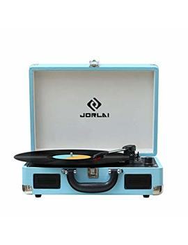 Vinyl Record Player Jorlai Turntable, 3 Speed Bluetooth Record Player Suitcase With Built In Speakers/Rechargable Battery/Vinyl To Mp3 Recording/Headphone Jack/Aux Input/Rca Line Out  Turquoise by Jorlai
