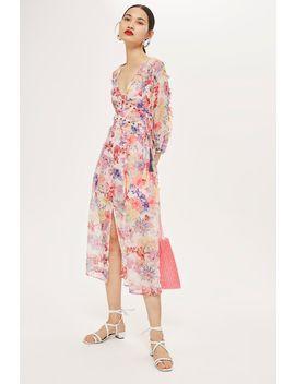 Eyelet Chiffon Floral Midi Dress by Topshop