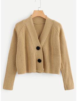 Rib Knit Trim Button Detail Sweater by Romwe