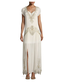 Galaxy V Neck Cap Sleeves Embellished Evening Gown by Haute Hippie