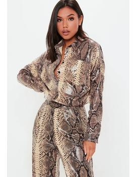 Brown Pu Snake Skin Shirt by Missguided
