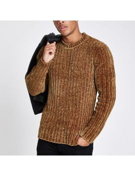 Green Muscle Fit Chenille Knit Jumper by River Island