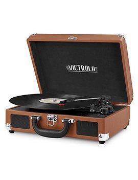 Victrola Vintage 3 Speed Bluetooth Suitcase Turntable With Speakers, Cognac by Victrola