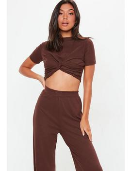 Chocolate Ribbed Knot Front Top by Missguided