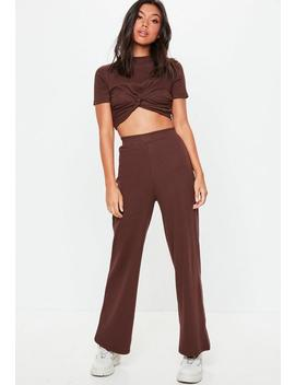 Chocolate Wide Leg Ribbed Trousers by Missguided