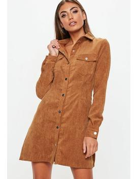 Rust Corduroy Skater Shirt Dress by Missguided
