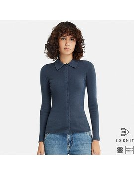 Women U 3 D Extra Fine Merino Knitted Shirt by Uniqlo