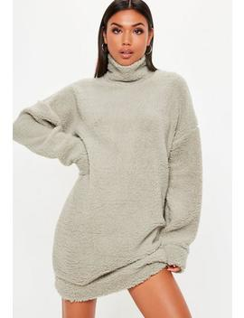 Stone Borg High Neck Sweat Dress by Missguided