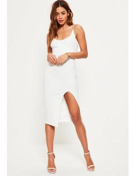 White Strappy Scoop Neck Midi Dress by Missguided