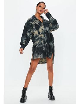 Black Oversized Acid Wash Shirt Dress by Missguided